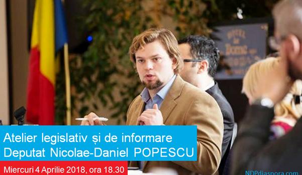 Deputatul USR de Diaspora, Nicolae-Daniel Popescu, organiează un atelier legislativ la Londra