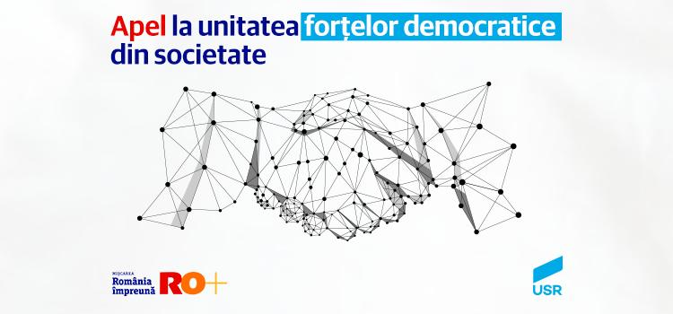 Comunicat comun USR și RO+: Apel la unitatea forțelor democratice din societate