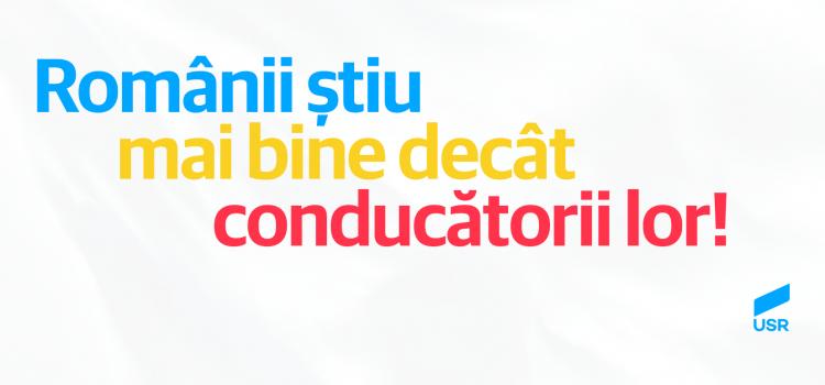 USR: România e mai matură decât conducătorii ei. Coaliția Dragnea – Tăriceanu este ruptă de realitate și trebuie să plece