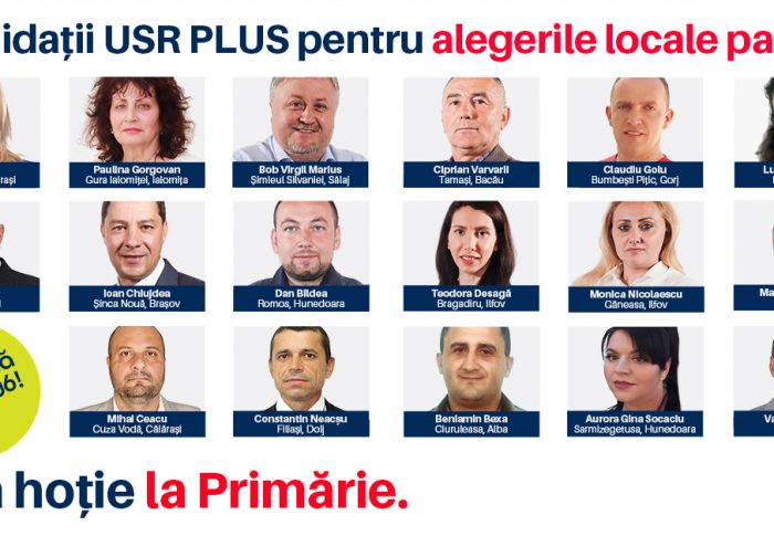 Candidații USR PLUS la alegerile locale parțiale din 27 iunie